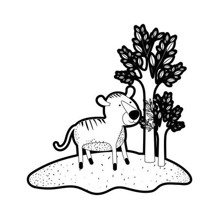 tiger cartoon in forest next to the trees in black silhouette with thick contour vector illustration