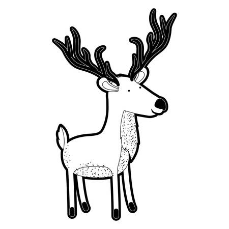 Deer cartoon with long horns in black silhouette with thick contour vector illustration