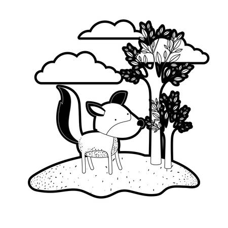 Wolf cartoon in outdoor scene with trees and clouds in black silhouette with thick contour vector illustration