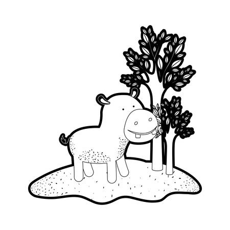 hippopotamus cartoon in forest next to the trees in black silhouette with thick contour vector illustration
