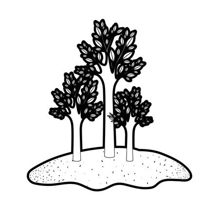 trees set in grassland in black silhouette with thick contour vector illustration