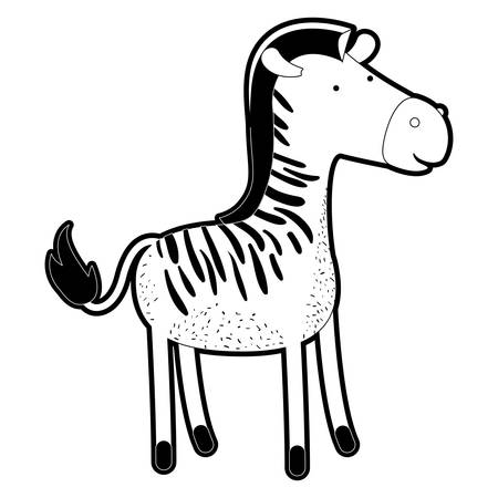 zebra cartoon in black silhouette with thick contour vector illustration