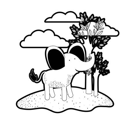 elephant cartoon in outdoor scene with trees and clouds in black silhouette with thick contour vector illustration