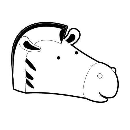 zebra cartoon head in black silhouette with thick contour vector illustration