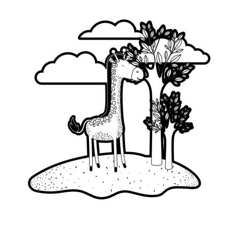 giraffe cartoon in outdoor scene with trees and clouds in black silhouette with thick contour vector illustration Illustration