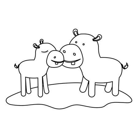 hippopotamus couple over grass in monochrome silhouette vector illustration Illustration