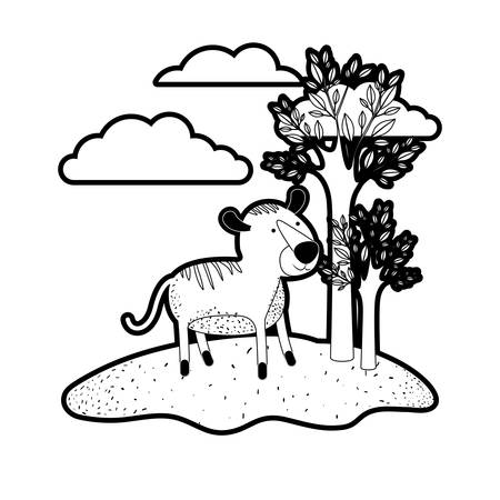tiger cartoon in outdoor scene with trees and clouds in black silhouette with thick contour vector illustration
