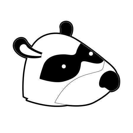 raccoon cartoon head in black silhouette with thick contour vector illustration