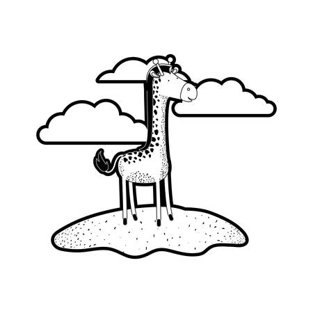 giraffe cartoon in outdoor scene with clouds in black silhouette with thick contour vector illustration