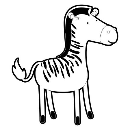 zebra cartoon with black sections silhouette and thick contour vector illustration