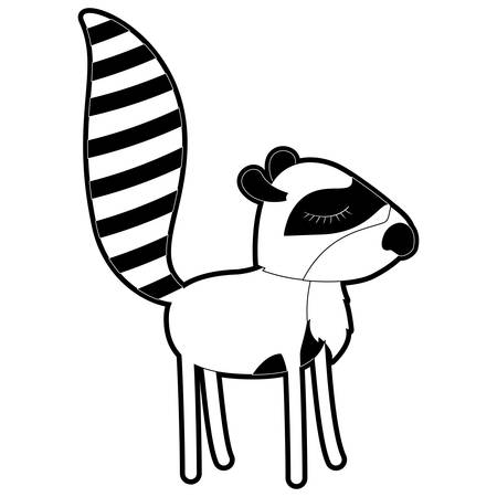 female raccoon cartoon with closed eyes expression in black silhouette with thick contour vector illustration