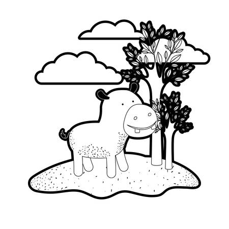hippopotamus cartoon in outdoor scene with trees and clouds in black silhouette with thick contour vector illustration Illustration
