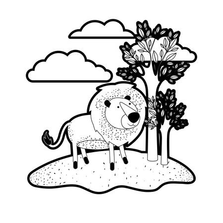 lion cartoon in outdoor scene with trees and clouds in black silhouette with thick contour vector illustration Illustration