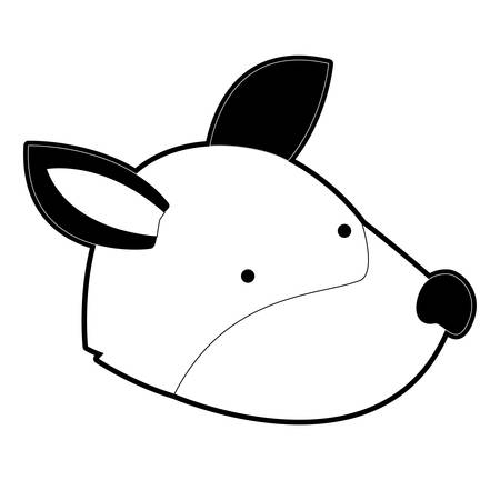 Wolf cartoon head in black silhouette with thick contour vector illustration