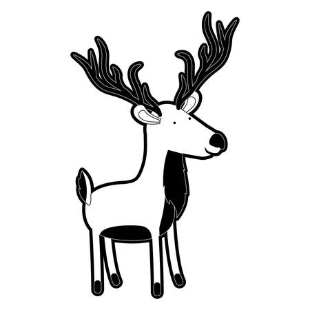 deer cartoon with black sections silhouette with thick contour vector illustration