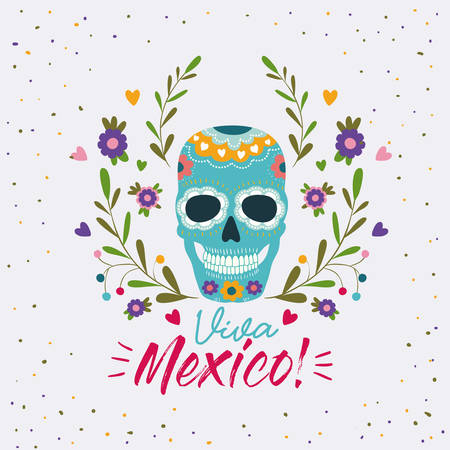 Viva mexico colorful poster with decorative skull mask  illustration