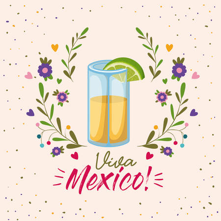 viva mexico colorful poster with tequila glass with lemon slice vector illustration Vector Illustration