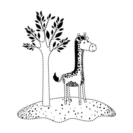 Giraffe cartoon next to the tree in black dotted silhouette vector illustration