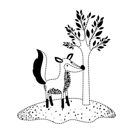 Fox cartoon next to the tree in black dotted silhouette vector illustration Illustration