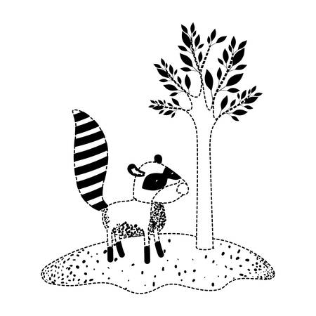 Raccoon cartoon next to the tree in black dotted silhouette vector illustration