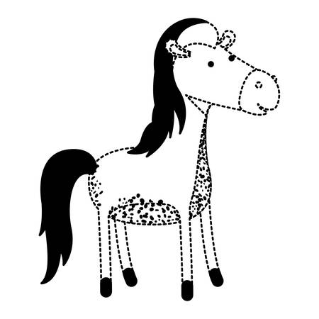A horse cartoon in black dotted silhouette vector illustration