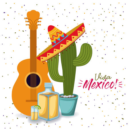 viva mexico colorful poster with guitar tequila and cactus plant with mexican hat vector illustration Illustration