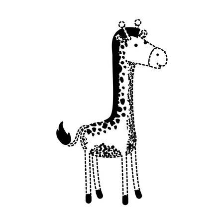 giraffe cartoon in black dotted silhouette vector illustration Illustration