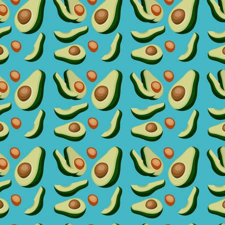 avocados sliced pattern in blue background vector illustration