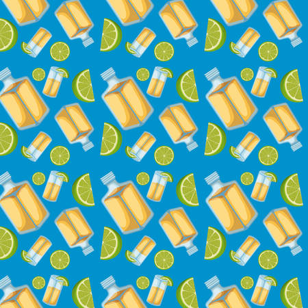 Tequila bottles and lemon sliced pattern in blue background vector illustration