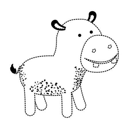 Hippopotamus cartoon in black dotted silhouette illustration 向量圖像