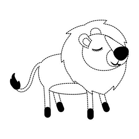 Lioness cartoon with closed eyes expression in black dotted silhouette illustration. Illustration