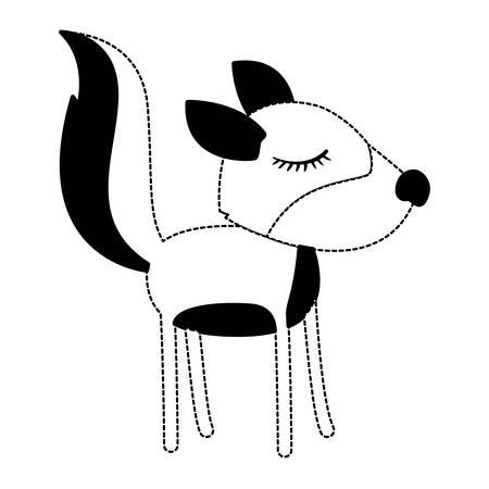 Female wolf cartoon with closed eyes expression in black dotted silhouette illustration.
