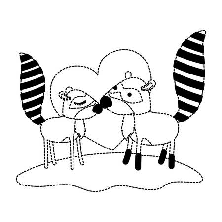 Raccoon couple over grass in black dotted contour with heart in background. Illustration
