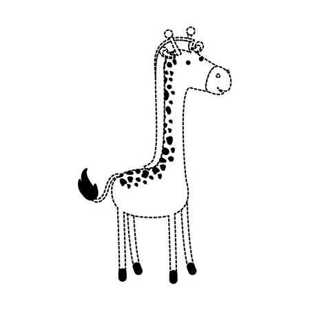 Giraffe cartoon in black dotted contour, vector illustration. Illustration