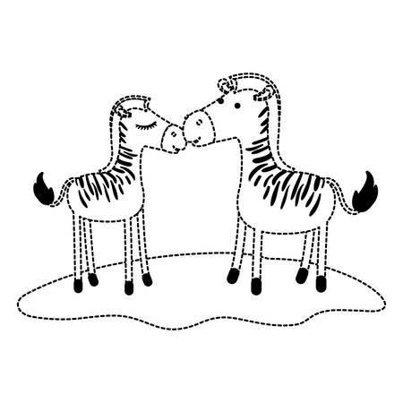 Zebra couple over grass in black dotted contour, vector illustration. Illustration