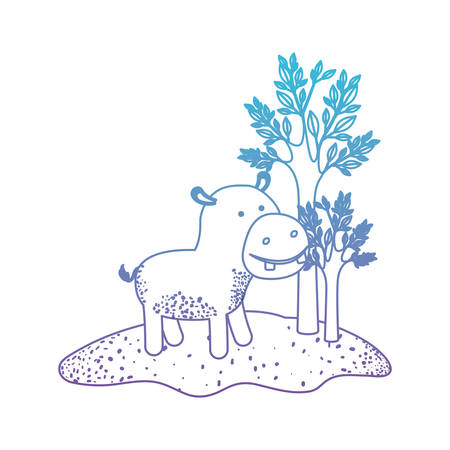 Hippopotamus cartoon in forest next to the trees in degraded blue to purple color silhouette vector illustration Illustration
