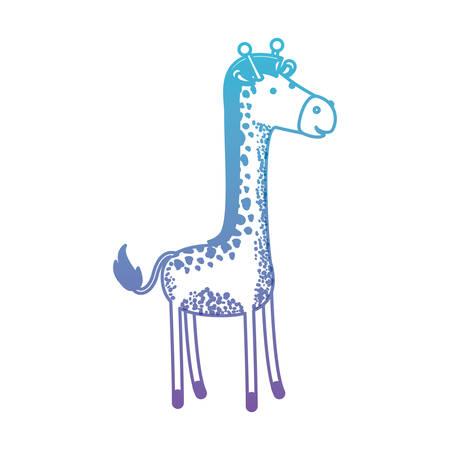 giraffe cartoon in degraded blue to purple color silhouette vector illustration Illustration