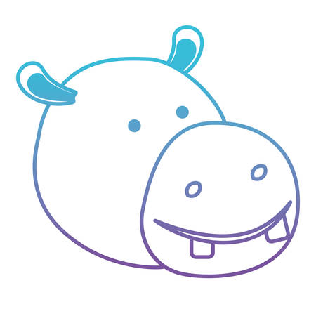 hippopotamus cartoon head in degraded blue to purple color silhouette vector illustration