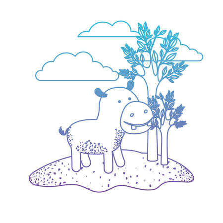 hippopotamus cartoon in outdoor scene with trees and clouds in degraded blue to purple color silhouette vector illustration