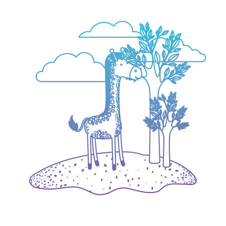 giraffe cartoon in outdoor scene with trees and clouds in degraded blue to purple color silhouette vector illustration