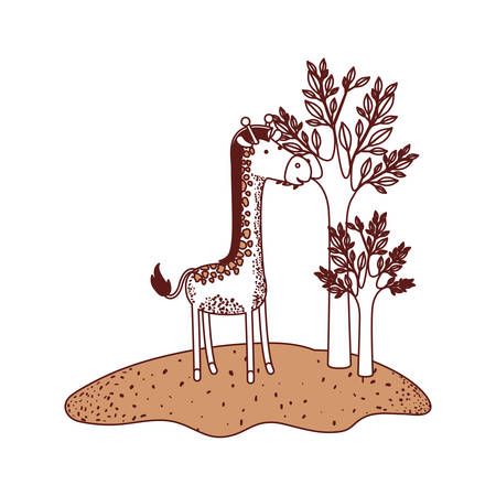 Giraffe cartoon in forest next to the trees in color sections silhouette vector illustration. Illustration
