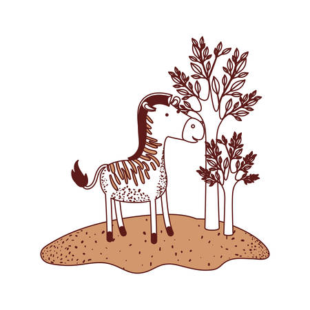 zebra cartoon in forest next to the trees in color sections silhouette vector illustration Çizim