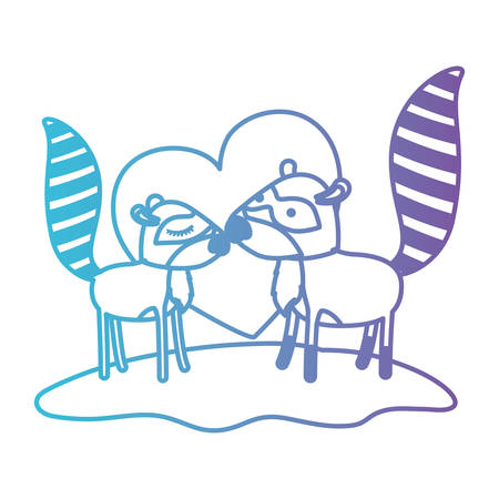 Raccoon couple over grass in degraded blue to purple color contour with heart in background vector illustration.