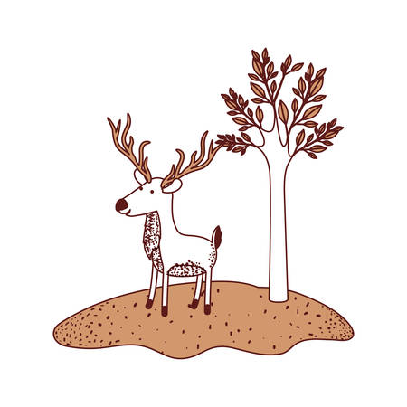 Deer cartoon with long horns in forest next to the trees in color sections silhouette vector illustration.