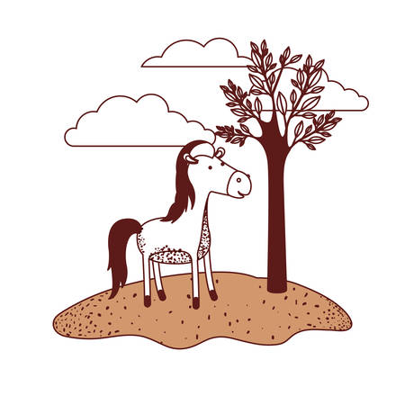 Horse cartoon in outdoor scene with trees and clouds in color sections silhouette vector illustration.
