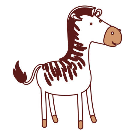 Zebra cartoon in color sections silhouette with thick contour vector illustration.