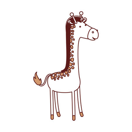 Giraffe cartoon in color sections silhouette with thick contour vector illustration.