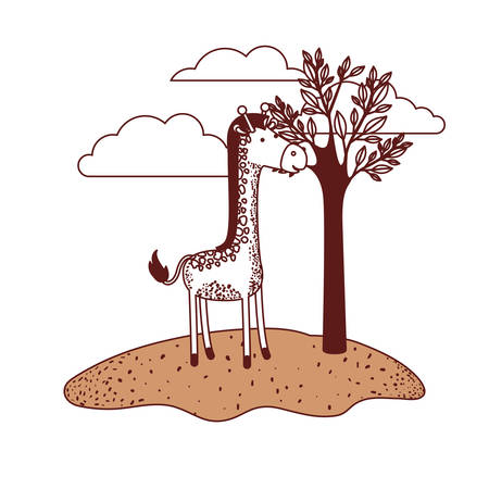 Giraffe cartoon in outdoor scene with trees and clouds in color sections silhouette vector illustration.