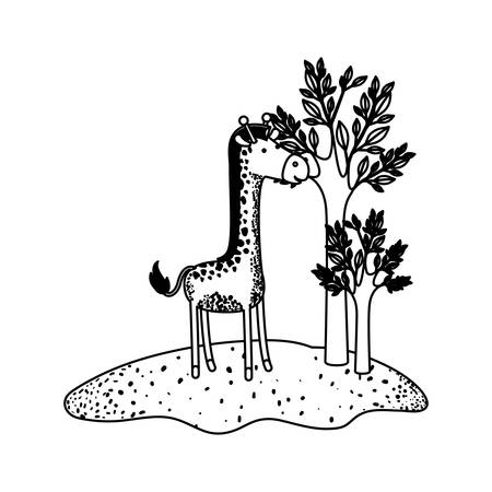 Giraffe cartoon next to the trees in black sections silhouette illustration.