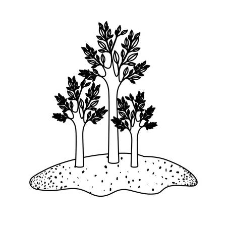 Trees set in grassland in black sections silhouette vector illustration